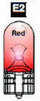 E2 - #555 Wedge Base Bulb (Clear) RED  /set