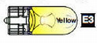 E3 - #555 Wedge Base Bulb (Clear) YELLOW - 10 pc  /set